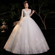 White Ivory Weddings Dresses Gowns Tulles Three Quarter Appliques Made Large New