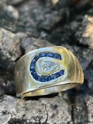 14k Yellow Gold Heavy Horse Shoes Diamonds And Sapphire Men Ring Size 10