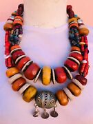 Moroccan Amber Resin 2 Necklaces Handmade African Jewelry Tribal Berber Beads