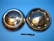 Two Vintage Chevrolet Hubcaps Wall Hangers Garage Man Cave