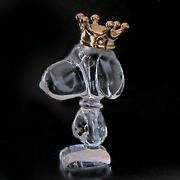 Baccarat Crown King Snoopy Peanuts Crystal Glass Figure Doll Ornamen New From Jp