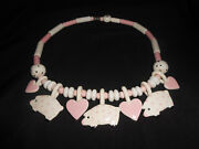 Vintage Ruby Z Ceramic Necklace By Candace Loheed Hearts And Pink Polka Dot Pigs