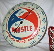 62 Ny Pam Clock Co. Whistle Soda Art Advertising Thermometer Sign Non Porcelain