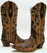 Womens Corral C1933 C 1933 Brn Overlay Tooled Leather Cowboy Western Boots 8.5 B