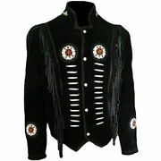 Men Black Suede Leather Native Cultural Western Cowboy Fringed Jacket And Beaded