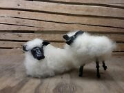 Handcrafted Wooly Sheep Figures - Mama And Lamb- White/black Face- Sweet