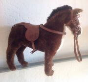 """Antique 13""""x13"""" Vintage Toy Horse Horsehair Tail Leather Saddle"""