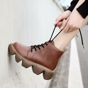 Autumn And Winter Retro Ramp Heel Thick Soles Womenand039s Single Boots Waterproof Pl