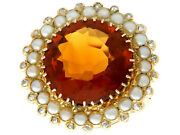 Vintage Dutch 13.46ct Citrine And Diamond Pearl And 14ct Yellow Gold Ring