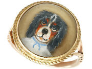 Antique Victorian Essex Crystal And 9 Ct Yellow Gold Dog Dress Ring