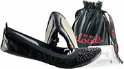 Fit In Clouds Stud Embellished Portable Foldable Ballet Flats With Carry Pouch