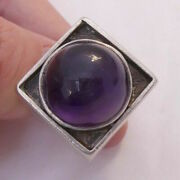 Vintage Sterling Silver Art Deco Amethyst Jeweled Cabochon Cocktail Ring Size 9