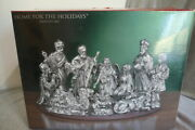 Dept 56 Silver Plated Porcelain Home For The Holidays Christmas Nativity Set