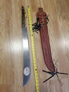 Vtg Promedoca Dominican Rep Leather Sheath Hand Carved Wood Handle