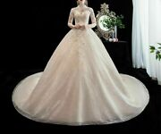 Wedding Dresses High Neck Long Trains Tassels Flowers Pleat Embroidery Appliques