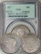 1937 Canada 50 Cents Matte Proof Specimen Pcgs Sp-66. Scarce And Toned. Early Slab