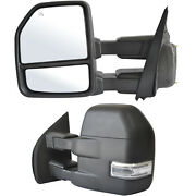 Tow Mirrors For 15-19 Ford F-150 Power Heated Led Signal Temp Sensor 8 Pin Lh Rh