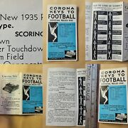 1935 Football Official Rules College Corona Keys Pass Tackle Ref Kick Punt 1935
