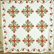 1880and039s Vintage Red And Green Oak Reel Applique Quilt Best Ever Hand Quilting