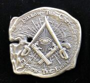 Doubloon Pirate Challenge Coin With Freemason Masonic Symbols Antique Silver