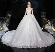 Bridal Wedding Dresses Vintage High Neck Long Illusion Sequined Embroidery Train