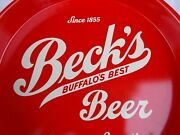 Becks Buffalo Ny Red/white Beer Serving Tray Excellent 40s 50's Naturally Smooth