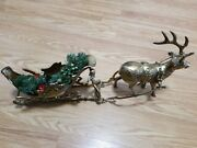 Vintage Lefton Exclusives Large Brass Reindeer And Sled Euc 1986 Christmas Decor