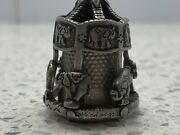 Thimble Pewter Caroussel Nicholas Gish And Signed Elephants-go-round And It Spins