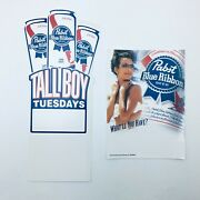 Pabst Blue Ribbon Beer Table Top Advertising And 2004 Static Cling Cooler Decal