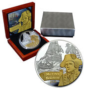 Niue 10 Dollars 2014 Silver Gold Plated Proof 5 Oz Mutiny On The Bounty Mtg.500