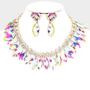 Luxe Rare Gold Multi Colour Ab Crystal Cocktail Necklace Set By Rocks Boutique