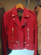 Bagatelle Nyc Red Genuine Suede Leather Jacket Sml Lined Interior New With Tags