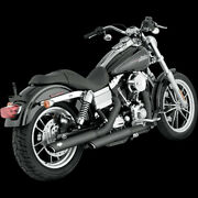 Vance And Hines 3 Round Twin Slash Slip-on Mufflers Black For 1991-2013 Dyna