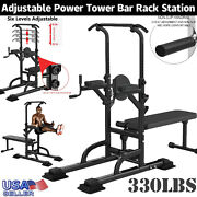 Adjustable Pull Up Bar Workout Power Tower Dip Station W/barbell Bench Fitness