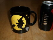 [halloween] Witch On Broom Stick And The Moon, Ceramic Coffee Cup, Vintage Germany