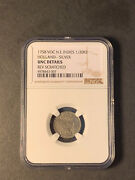 Netherlands East Indies Holland Silver 1/2 Duit 1758 Uncirculated Ngc Scratch