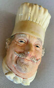 Chef Plaque England 1969 Bossons 3d Chalkware Character Head Baker 30 Mustache