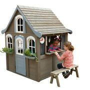 Wooden Playhouse With Easy Assembly Play Kitchen With 2 Pots And Spatula