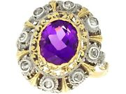 Antique 5.92ct Amethyst And 0.32ct Diamond 18ct Yellow Gold And Silver Set Ring