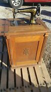 Antique Franklin Treadle Sewing Machine And Cabinet With Manual Bobbin Nice One