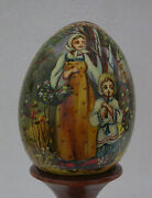 Hand Painted Russian Fedoskino Wooden Egg -signed-painted-ladyandchild In Forest