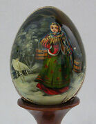 Hand Painted Russian Fedoskino Wooden Egg -signed-painted-lady With Two Buckets