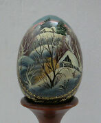 Hand Painted Russian Fedoskino Wooden Egg -signed-painted A Village In Winter