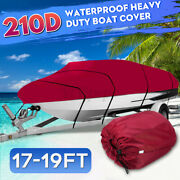 Heavy Duty Waterproof Boat Cover V-hull Fishing Ski Bass Runabouts 17ft-19ft Red