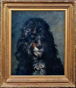 19th Century French Portrait Of A Dog Poodle Lewis Dorey 1836-1914