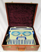 Vintage Antique Accordian Pearl ✮ Blue Paino Bassoon Violin Key Made In Italy