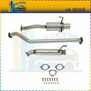 4 Roll Muffler Tip Exhaust Catback Cat Back System For 02-05 Civic Ep3 Si/sir