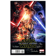Star Wars The Force Awakens 001 Movie Poster Variant Edition Cast Signed Ca Coa