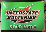 Interstate Batteries Sign 24andrdquo X 36andrdquo Great Colors Embossed Tin Gas Station Adv