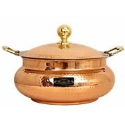 Copper Steel Chaffing Dish Rare Hammered Design Brass Handles And Knobs 6 Liters